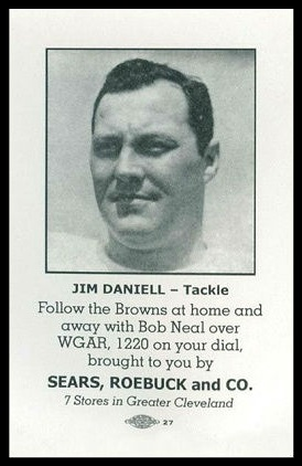 Jim Daniell 1946 Sears Browns football card