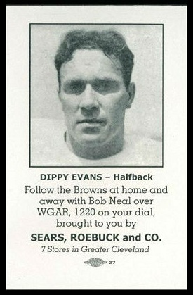 Fred Evans 1946 Sears Browns football card
