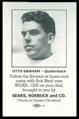 Otto Graham 1946 Sears Browns football card