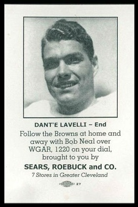 Dante Lavelli 1946 Sears Browns football card