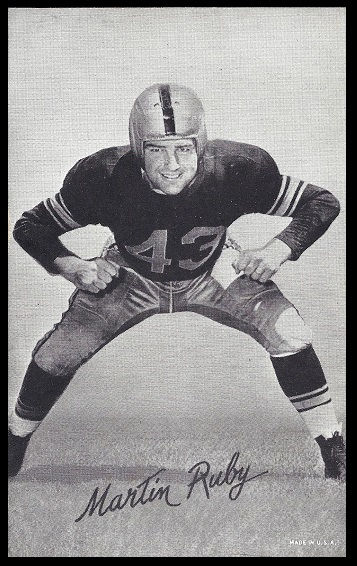 Martin Ruby 1948-52 Exhibit football card