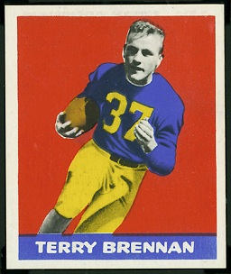 Terry Brennan 1948 Leaf football card