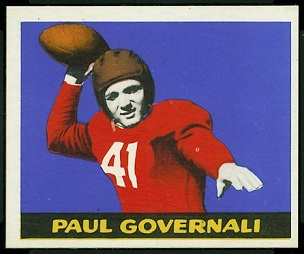 Paul Governali 1948 Leaf football card