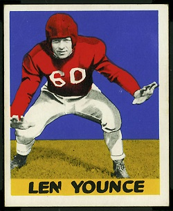 Len Younce 1948 Leaf football card