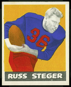 Russ Steger 1948 Leaf football card