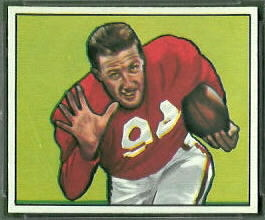 Verl Lillywhite 1950 Bowman football card