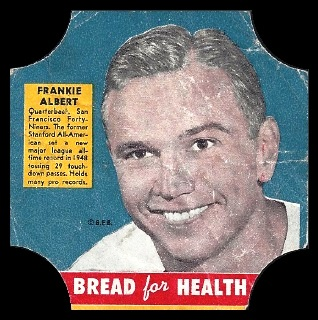 Frankie Albert 1950 Bread for Health Labels football card