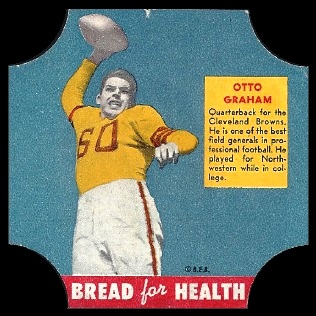 Otto Graham 1950 Bread for Health Labels football card