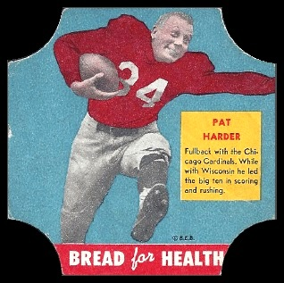 Pat Harder 1950 Bread for Health Labels football card