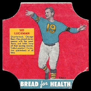 Sid Luckman 1950 Bread for Health Labels football card