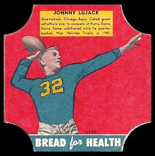 John Lujack 1950 Bread for Health Labels football card