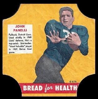 John Panelli 1950 Bread for Health Labels football card
