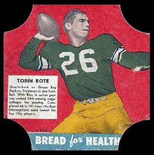 Tobin Rote 1950 Bread for Health Labels football card