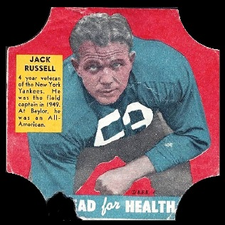 Jack Russell 1950 Bread for Health Labels football card