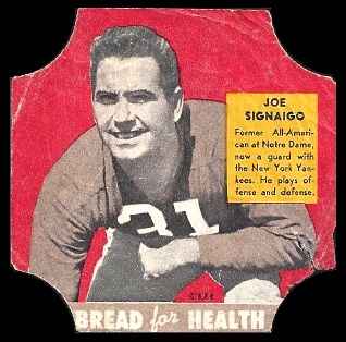 Joe Signaigo 1950 Bread for Health Labels football card