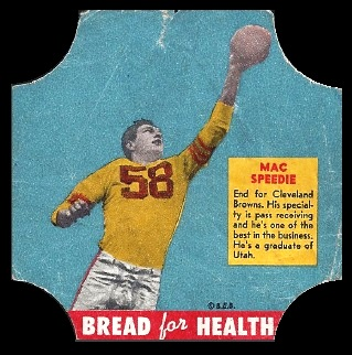 Mac Speedie 1950 Bread for Health Labels football card