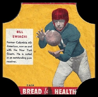 Bill Swiacki 1950 Bread for Health Labels football card
