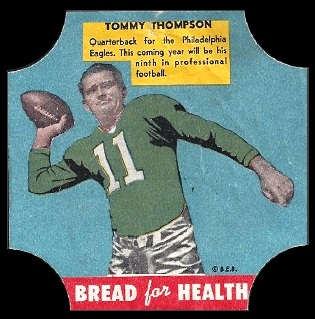 Tommy Thompson 1950 Bread for Health Labels football card