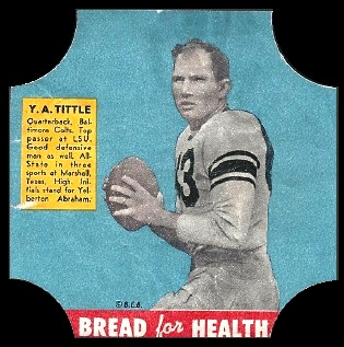 Y.A. Tittle 1950 Bread for Health Labels football card