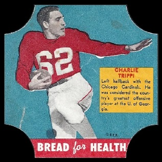 Charley Trippi 1950 Bread for Health Labels football card