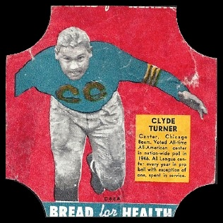 Bulldog Turner 1950 Bread for Health Labels football card