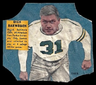 Dick Barwegan 1950 Bread for Health Labels football card