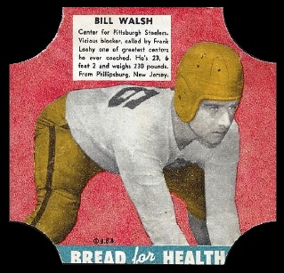 Bill Walsh 1950 Bread for Health Labels football card