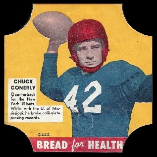 Charley Conerly 1950 Bread for Health Labels football card