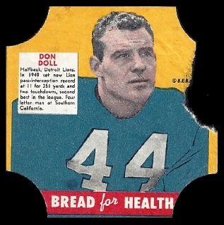 Don Doll 1950 Bread for Health Labels football card