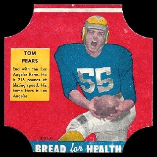 Tom Fears 1950 Bread for Health Labels football card