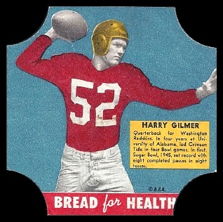 Harry Gilmer 1950 Bread for Health Labels football card