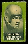 Tom Coleman 1950 Topps Felt Backs football card