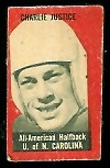 Charlie Justice 1950 Topps Felt Backs football card
