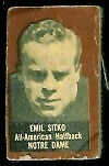 Emil Sitko (brown) 1950 Topps Felt Backs football card
