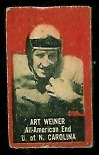 Art Weiner 1950 Topps Felt Backs football card