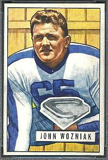John Wozniak 1951 Bowman football card