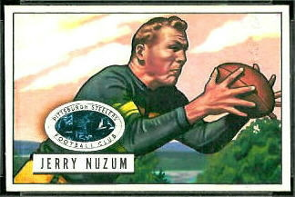 Jerry Nuzum 1951 Bowman football card