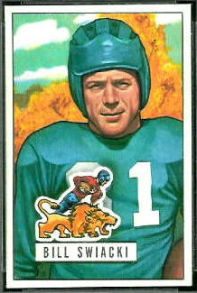 Bill Swiacki 1951 Bowman football card