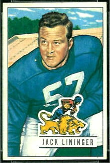 Jack Lininger 1951 Bowman football card