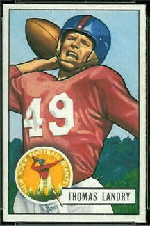 Tom Landry 1951 Bowman football card
