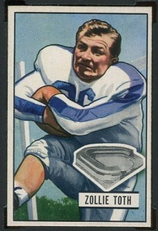 Zollie Toth 1951 Bowman football card