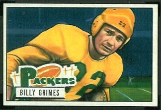 Billy Grimes 1951 Bowman football card