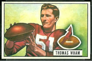 Tom Wham 1951 Bowman football card