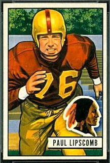 Paul Lipscomb 1951 Bowman football card