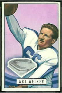Art Weiner 1951 Bowman football card