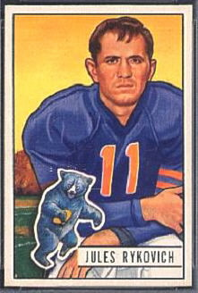 Julie Rykovich 1951 Bowman football card