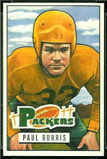 Paul Burris 1951 Bowman football card