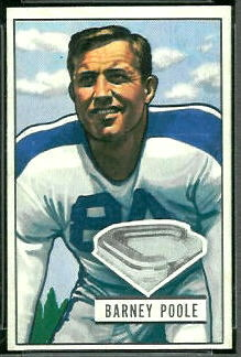 Barney Poole 1951 Bowman football card