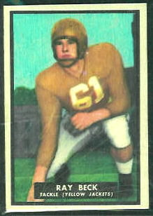 Ray Beck 1951 Topps Magic football card