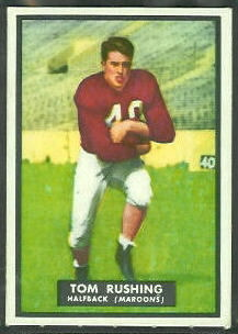 Tom Rushing 1951 Topps Magic football card